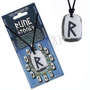 Naszyjnik na kark z rzemykiem i stalową zawieszką, runo Raido obraz