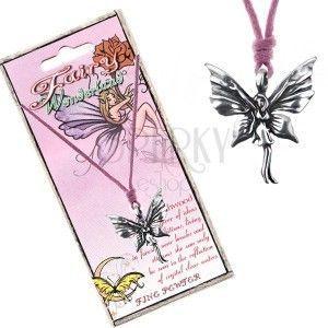 Różowy sznurek na szyję i metalowa zawieszka stojącej motylkowej wróżki obraz