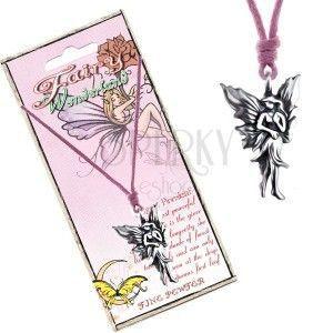 Naszyjnik ze sznurkiem i metalową zawieszką spacerującej czarodziejki obraz
