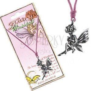Naszyjnik - różowy sznurek, metalowa zawieszka wróżki na kwiatku obraz