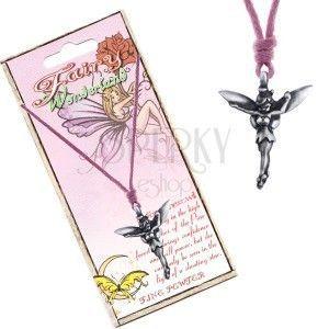 Naszyjnik - różowy sznurek, metalowa zawieszka, sosnowa wróżka obraz