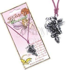 Sznurek na szyję - metalowa kwiatowa wróżka ze wstążką i różdżką obraz