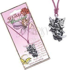 Naszyjnik - różowy sznurek, metalowa zawieszka, senna wróżka obraz