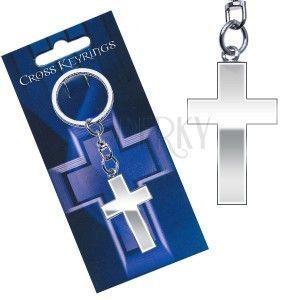 Metalowa zawieszka do kluczy - lśniący krzyż łaciński obraz