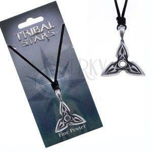 Naszyjnik - sznurek, metalowa zawieszka, trzyramienna gwiazda, ornament obraz