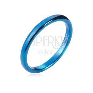 Pierścionek z tungstenu - gładka, niebieska obrączka, zaokrąglona, 2 mm obraz
