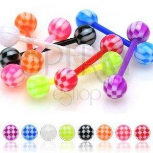 Akrylowy kolczyk do języka, kolorowe kuleczki z motywem szachownicy obraz