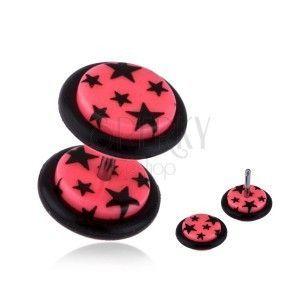 Fake plug do ucha z akrylu - czarne gwiazdy, różowy podkład obraz