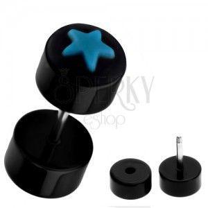 Fałszywy piercing do ucha z akrylu - czarny z niebieską gwiazdą obraz