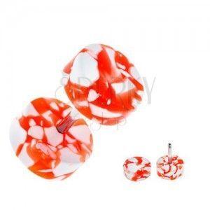 Akrylowy fake plug do ucha - biało-pomarańczowe krążki obraz