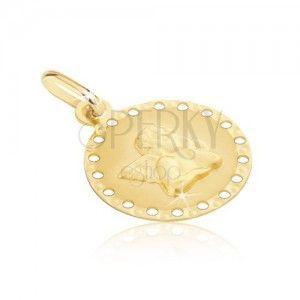 Złoty wisiorek 585 - okrągła płytka z drobnymi otworami, aniołek obraz