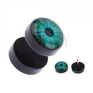 Czarny akrylowy fake plug do ucha - zielone oko obraz