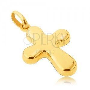 Złota zawieszka 14K - gruby, lśniący krzyż o zaoblonych ramionach obraz