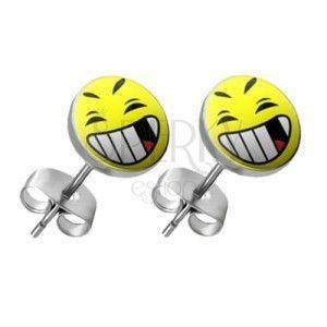 Okrągłe kolczyki ze stali - emotka z otwartymi ustami obraz