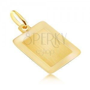 Złoty 14K wisiorek - gładka podłużna tabliczka o lśniącej ramce obraz