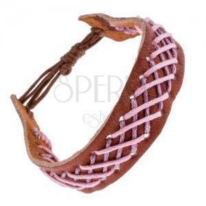 Skórzana bransoletka na rękę - brązowa z plecionym wzorem obraz