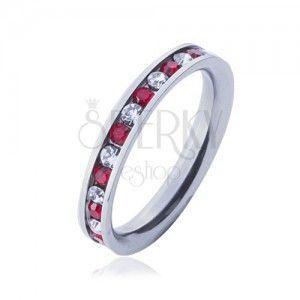 Stalowy pierścionek - obrączka, przeźroczyste i czerwone cyrkonie obraz