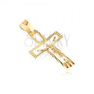 Zawieszka z żółtego złota 14K - wycięty krzyż z Chrystusem i lśniącymi promieniami obraz