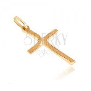 Złoty wisiorek 585 - krzyżyk z długimi matowymi łuczkami na ramionach obraz