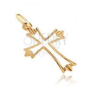 Złoty wisiorek 585 - krzyż z rozgałęzionymi promienistymi ramionami i wycięciem obraz