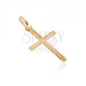 Złoty 14K wisiorek - krzyż z wąskimi ramionami, promienie obraz
