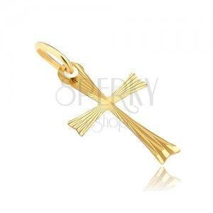 Złoty wisiorek 925 - krzyżyk z rozdwojonymi ramionami i promieniami obraz