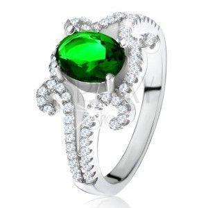 Pierścionek ze srebra 925, owalny zielony kamień, skręcone cyrkoniowe ramiona obraz