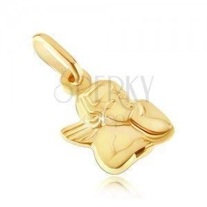 Złoty wisiorek 585 - popiersie aniołka z podpartą głową obraz