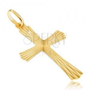 Złoty wisiorek 14K - promienisty krzyż o pofalowanych końcach obraz