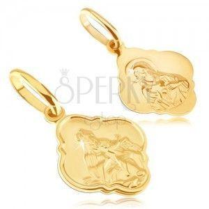 Wisiorek ze złota 14K - matowy medalik z Chrystusem i Madonną obraz