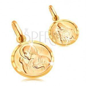 Złoty okrągły wisiorek 585 - Jezus i Matka Boska w ramce obraz