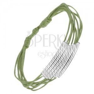 Zielona sznurkowa multi bransoletka z rureczkami obraz