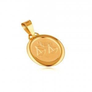 Znak zodiaku WAGA - zawieszka z żółtego 14K złota, matowy owal obraz