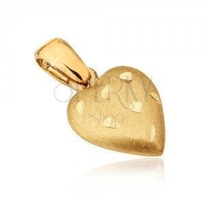 Złoty wisiorek 585 - przestrzenne serce o satynowej powierzchni, rowki obraz