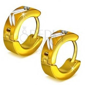 Okrągłe stalowe kolczyki w kolorze złotym, ukośne nacięcia obraz