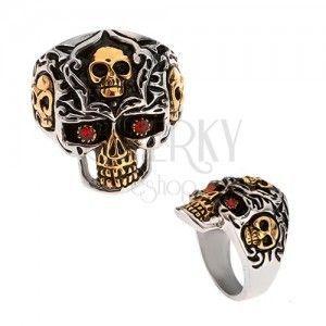Pierścień ze stali 316L, złoto-srebrna czaszka, czerwone kamienie obraz
