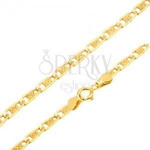 Złoty łańcuszek 585 - wąskie płaskie podłużne ogniwa z kratką, 550 mm obraz