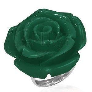 Pierścionek ze stali chirurgicznej - zielona róża, żywica obraz