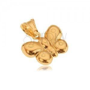 Zawieszka ze złota 585, trójwymiarowy motyl, lśniąca powierzchnia obraz
