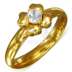 Złoty pierścionek ze stali nierdzewnej z bezbarwną cyrkonią - kwiat obraz