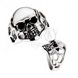 Masywny pierścionek ze stali chirurgicznej - czaszka, wycięcia obraz
