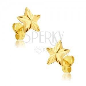 Kolczyki z żółtego 14K złota - pięcioramienna lśniąca gwiazdeczka, promieniste rowki obraz