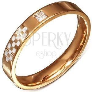 Różowo-złota obrączka ze stali, biała szachownica, cyrkonia obraz