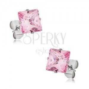 Kolczyki wkręty ze stali, różowa kwadratowa cyrkonia - różne rozmiary obraz