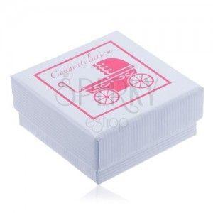 Białe pudełeczko na biżuterię z różowym wózeczkiem obraz