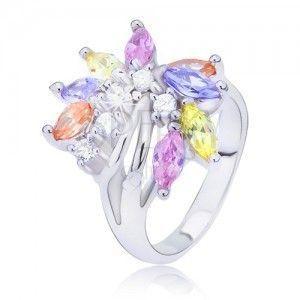 Srebrny pierścionek z kolorowym cyrkoniowym wachlarzem obraz