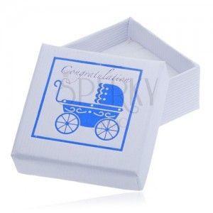 Białe pudełeczko prezentowe - niebieski dziecięcy wózek obraz