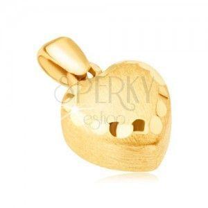 Złoty wisiorek 585 - symetryczne serce 3D, satynowa powierzchnia, ozdobne rowki obraz