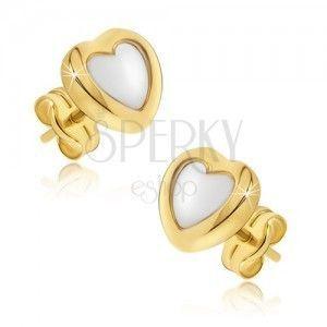 Złote kolczyki 585 - dwukolorowe symetryczne serca, lśniąca zaokrąglona powierzchnia obraz