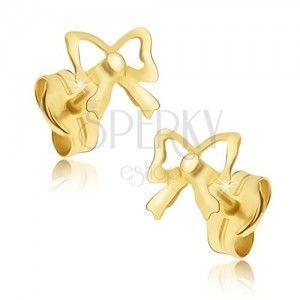 Złote kolczyki wkręty 585 - kokardki o lustrzanym połysku obraz